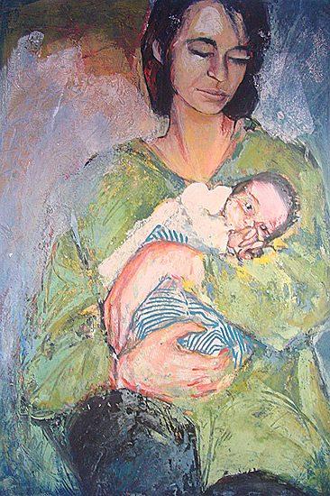 La maternité - Acrylique sur papier, 70 x 100cm (1990)