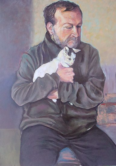 Autoportrait au chat, huile sur toile - 130 x 195cm (2010)