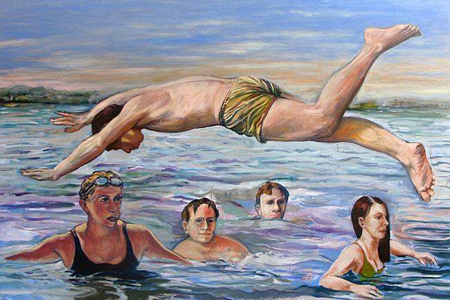 Le plongeon - Huile sur toile - 195 x 130 cm (2010)