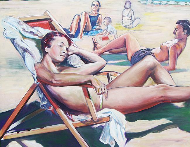 Scène de plage - Huile sur toile - 147 x 114 cm (2010)