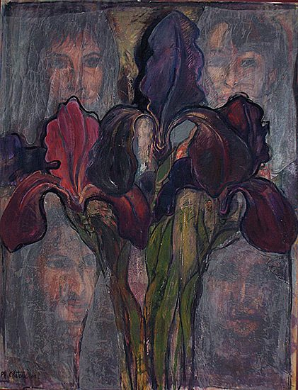 Les iris - Acrylique sur papier, 135 x 107cm