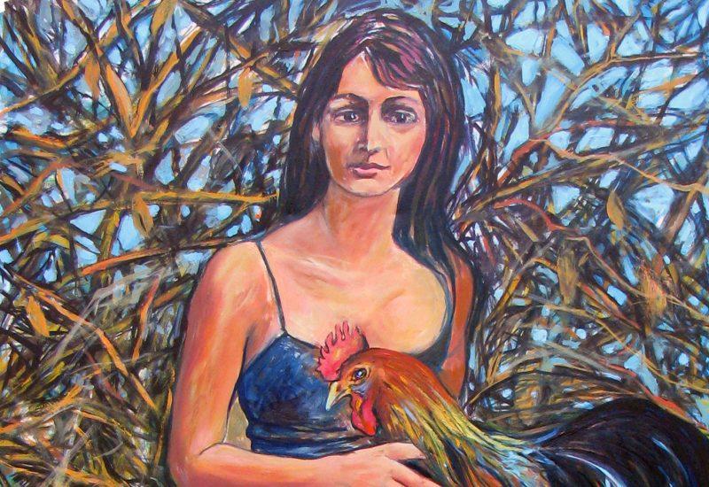 Jeune fille au coq